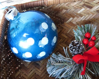 Vintage Blue White Mercury Glass Christmas Ornament Sparkly Spotted Ball Tree Ornament