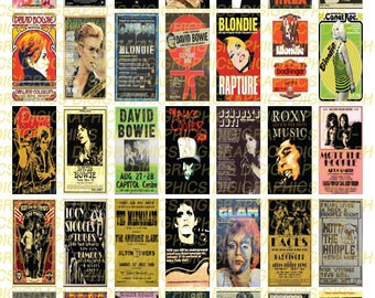 Vintage Glam Rock Posters 1X2 Domino Sized print out digital sheet.