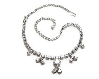Vintage Rhinestone Necklace - Clear Rhinestones - Silver Tone - Prong Settings