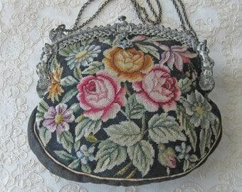 Antique Black with Flowers Petit Point Purse