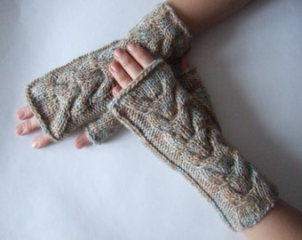 Knitted of BAMBOO, WOOL and ACRYLIC. Multicolor ( brown, gray, blue ) fingerless gloves, wrist warmers, fingerless mittens. Handmade.