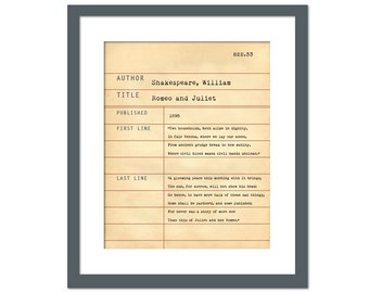 Romeo and Juliet by William Shakespeare - Library Card Art Print - Book Lovers Poster - Library Poster - Book Gift - Dewey Decimal System