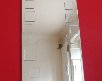 Squares on Rectangle Shaped Mirror Art - 2 Sizes Available