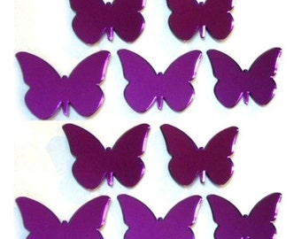 Purple Butterfly Mirrors - Packs of 10 for Crafting and Decorative Use plus a single larger Purple Butterfly