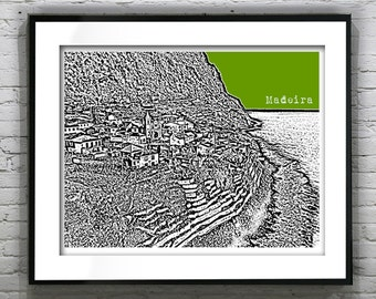 Madeira Island Portugal Poster Art Print City Skyline