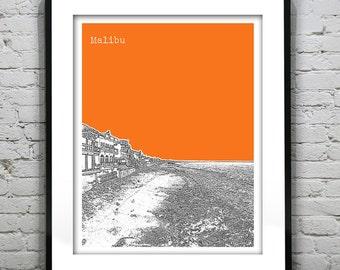 Malibu Skyline Poster Art Print California CA