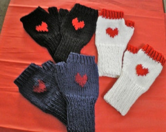 Knitted, Soft  Fingerless Woman gloves, with RED HEART, Valentine/Birthday Gift ,1 size fits all,  3 colors