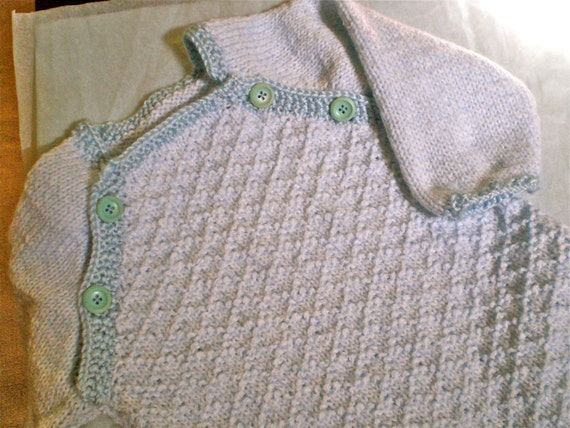 Knitted Baby Bunting Bag Pattern : Comfy Baby Sleeping Bag/Bunting Knitted in Light Blue Soft