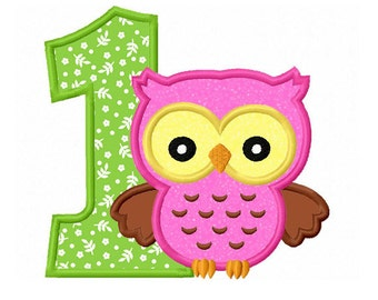 Owl Number 1/ First Birthday Applique Machine Embroidery Design NO:0193