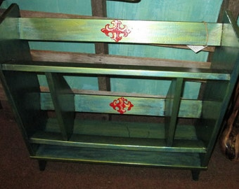 One of a kind, Hand painted, retro book case, green teal and red, one of a kind, artist created,