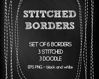 6 Digital Stitched Frames & Borders. Instant Download. Digital Scrapbooking.Eps and PNG 300 dpi