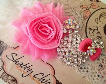Disney Headband Pink Chiffon Shabby Flower White Lace Headband with Minnie Mouse Rhinestone Embellishment Baby Photo Prop Mickey Birthday