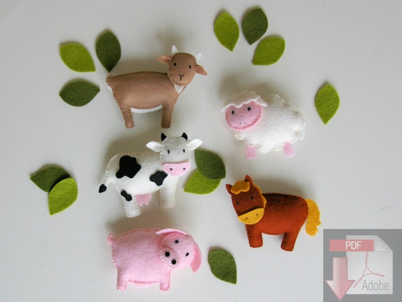 Pattern felt ornaments 6 farm animals mobile by for Diy baby mobile felt