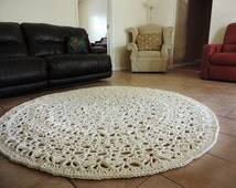 Giant Crochet Rug, Ecru Natural Beige Doily Lace floor mat, Round Circle Area carpet, nursery rug, shabby home, country cottage chic carpet