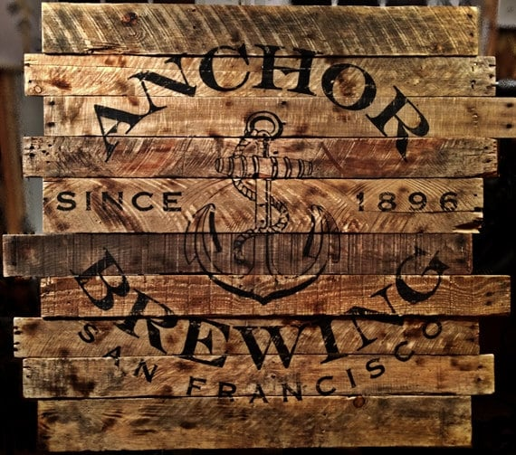 Items similar to large reclaimed wood sign anchor brewing for Reclaimed wood san francisco