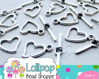 HEART Toggle Antique Silver Heart Toggle Clasps 10pk 18mm x 14mm DIY Silver Tone Jewelry Findings - Lead & Cadmium FREE