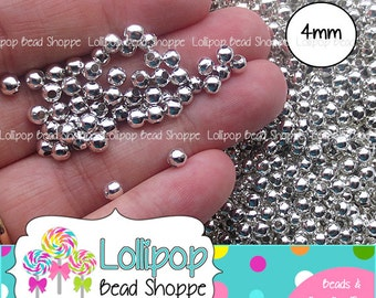 BULK 4mm SILVER Round Spacer Beads Seamless Smooth Iron Metal Beads Silver Tone Spacers Silver Plated Bubblegum Necklace Beads Wholesale