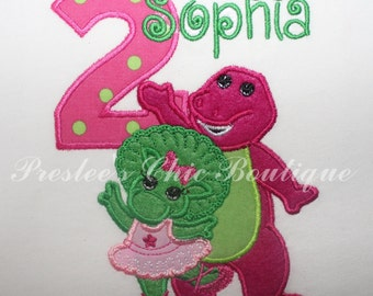 Barney & Baby Bop Birthday T-shirt, onesie or turtleneck. Add your child's name and age!
