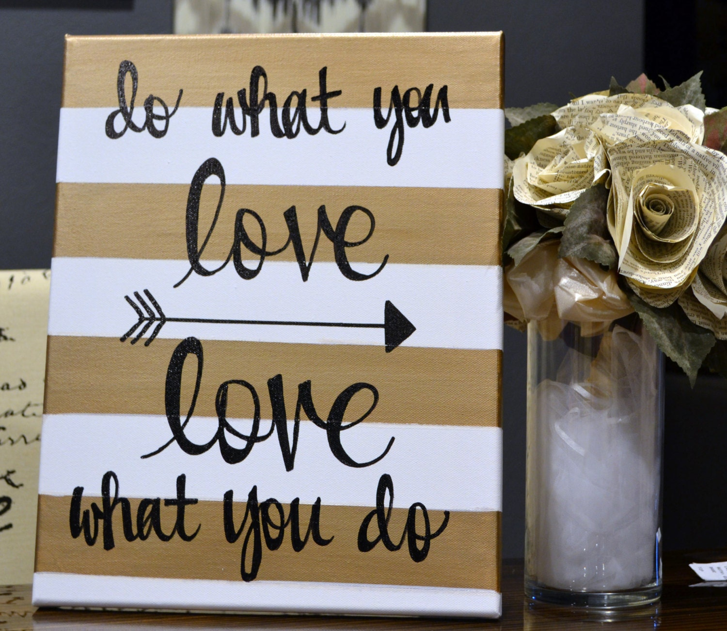 Inspirational canvas wall art painting gold and by for Inspirational wall art