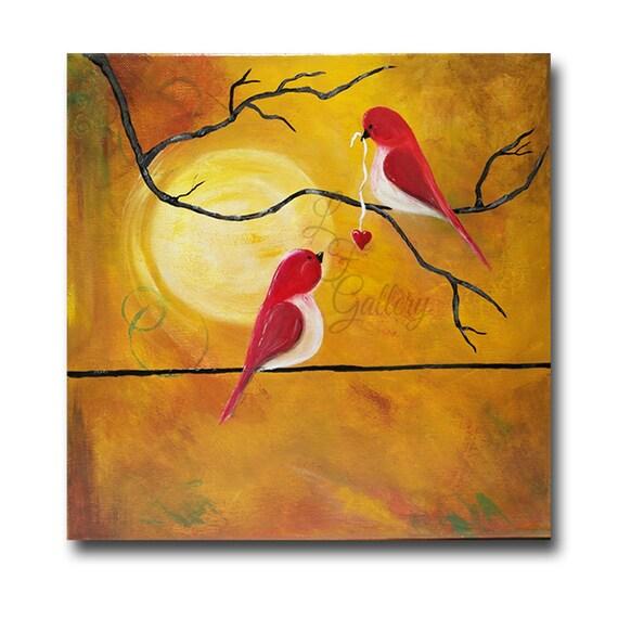 Original Canvas Painting Love Birds Painting Birds On Wire