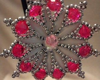 Pink, White &Silver Pearl Beaded Star Medallion Christmas Ornament