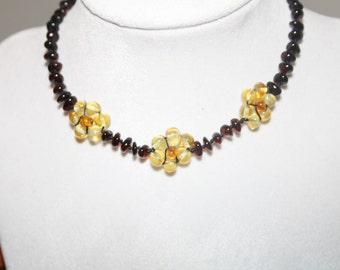 Flower Cherry Genuine Baltic Amber Teething Necklace