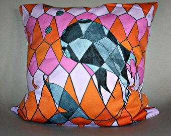 Fish, decorative cushion printed in France