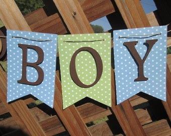 Blue, green and brown its a boy banner, baby shower decorations, Welcome baby banner