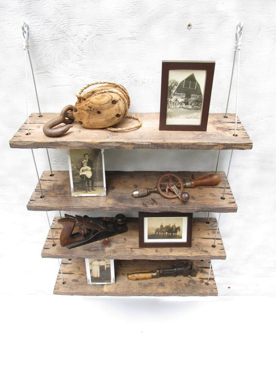 Barn Wood Shelves ~ Rustic shelves distressed shelf barn wood reclaimed