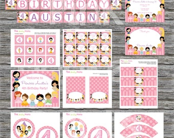 DIY - Girl Princesses Party Birthday Party Pack #250- Coordinating Items Available