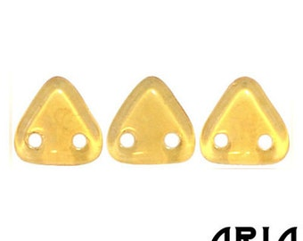 TOPAZ CHAMPAGNE LUSTER: 6mm Two-Hole Czech Glass Triangle Beads (10 grams)