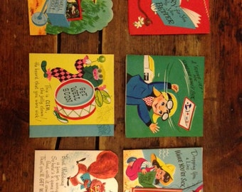 Set of Six Vintage Get Well Greeting Cards