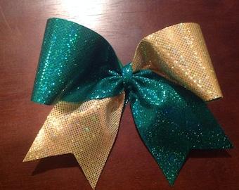 Green & Gold shiny Cheer Bow