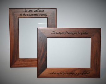 5x7 Laser Engraved Walnut Wooden Picture Frame, Custom picture frame, personalized picture frame 5x7