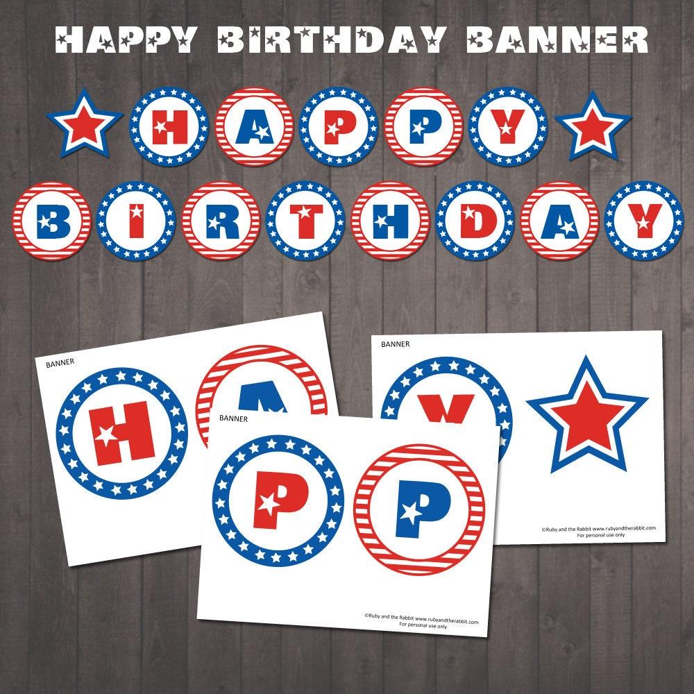 INSTANT DOWNLOAD Patriotic Happy Birthday Banner Patriotic