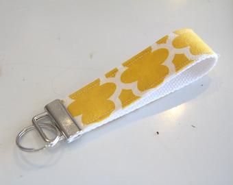 Yellow and white lattice print on white Key chain Fob. key chain wristlet