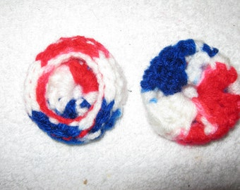 Red White & Blue Ear Pads/Cushions/Cookies for Phone Headset, Call Center, Hand-made, NEW.