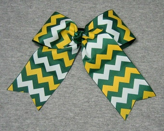 Big Cheer Bow - Large Green, Yellow and White Hair Bow in a Chevron Stripe Pattern