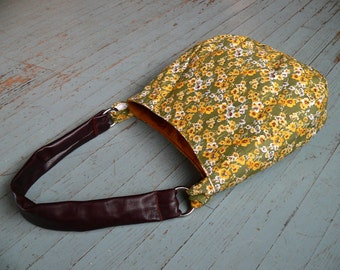 Floral Hobo Hand Bag, Leather Strap