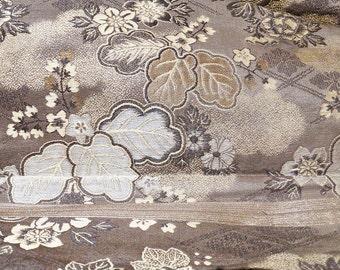 Antique Silk Obi Japanese Textile Maru Taisho/Meiji Period
