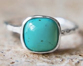 Turquoise Ring - with Textured Sterling Silver