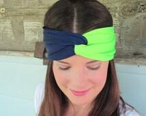 Seattle Seahawks Headband, Navy Blue and Neon Green Headband, Sports Fan Headband, NFL Headband, Superbowl Headband, Seahawk Fan Gear,