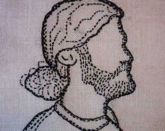 Custom Silhouette Embroidery Portrait