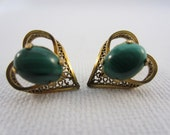 Malachite Heart Earrings in Gold Setting for Valentine or Sweetheart - Vintage Jemstone Jewelry