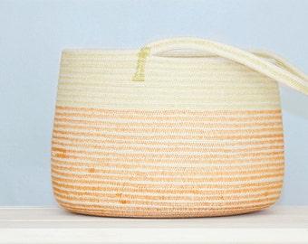 Khaki and Orange Cotton Sash Cord Basket