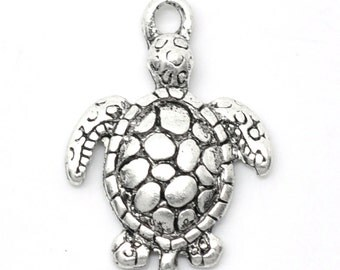 5 Silver Turtle Charms Turtle Jewelry Beach Theme Tortoise Jewelry Turtle charm Sea turtle charm Bracelet/Necklace Charm Turtle pendant