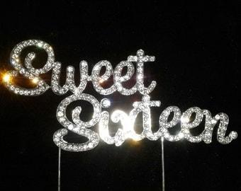 Sweet sixteen cake topper. Bling rhinestone sweet 16 cake topper,cake topper for birthday cake