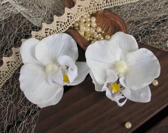 Orchid Hair Clips Bridal hair accessory Flowers for hair Garden Wedding Phaenelopsis, pair