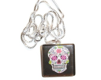 Sugar Skull Black background Glass Pendant Necklace