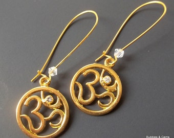 Gold Om Earrings